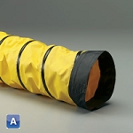 6 inch I.D. Spring Flex SD-W yellow 1-ply neoprene coated polyester with black wearstrip ducting hose X 25 feet