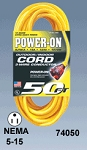 Yellow SJTW 12/3 15A Lighted Extension Cord 100 Feet