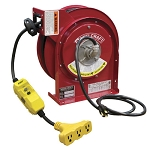 Cable reel with 45 feet of 12AWG 15 AMP power cord and triple tap with GFCI protection
