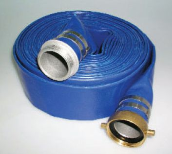 Blue Pvc Flat Water Discharge Hose With Pin Lug Npsh