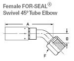 ¼ inch Fem. FOR-SEAL® Swivel 45° Tube Elbow ¼ inch U Series