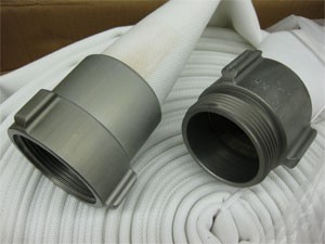 Contractors double jacket mill hose 2-1/2 inch x 100 feet coupled with M & F NST-NH couplings