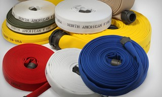 Assorted colors + white Double jacket fire hose 2-1/2 inch x 50 feet coupled with M & F NST-NH couplings USA