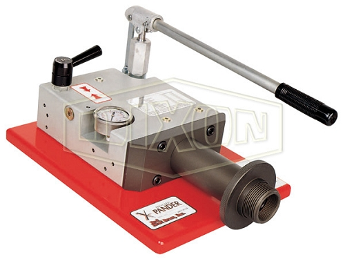 Portable hand operated internal expansion fire hose assembly machine