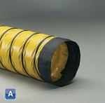 4 inch I.D. Spring Flex AD3 yellow PVC coated polyester with black wearstrip insulated ducting hose X 25 Feet (per foot)