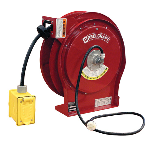 Extension cord reel with 50 feet of 12AWG 20 AMP power cord and GFCI