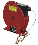 Static discharge grounding cable reel - spring retractable with 3/32 inch OD X 50 FT steel aircraft cable