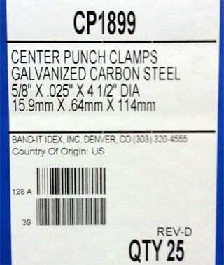 Center Punch Clamp GCS 5/8 wide x 0.025 thick 4-1/2 inch diameter (25 per box)