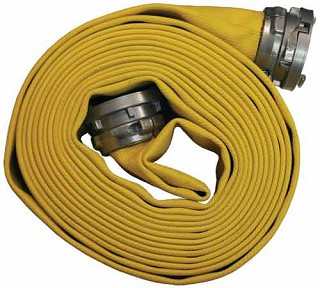 Heavy Duty Nitrile Covered Fire Hose yellow 4 inch X 50 Feet Long coupled with female and male segmented collar style (Storz) couplings